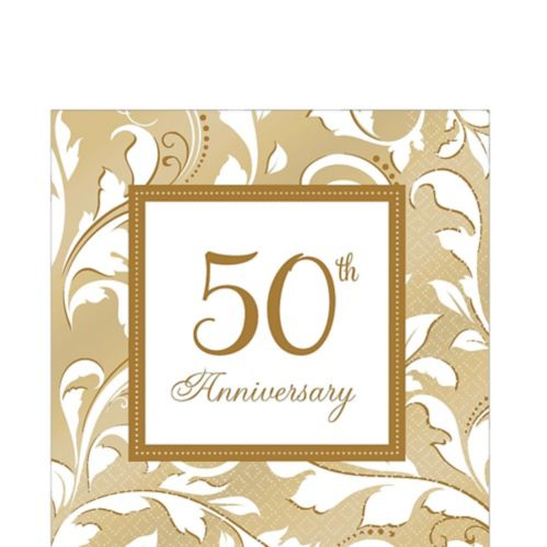 Golden 50th Anniversary Lunch Napkins, 16-pk