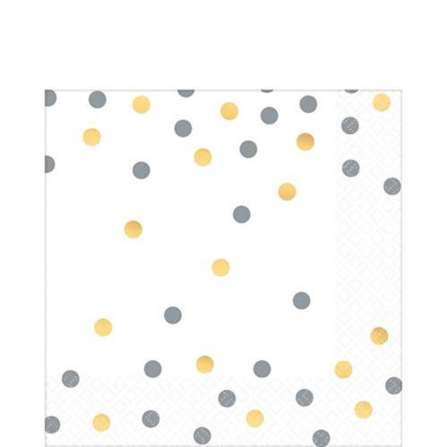 Confetti Premium Lunch Napkins, Metallic Gold/Silver, 16-pk