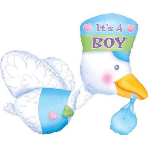Ballon Cigogne de fête prénatale It's a Boy, 32po Image de l'article