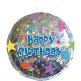 Prismatic Starburst Happy Birthday Balloon, 17-in