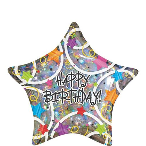 Holographic Star Happy Birthday Balloon, 18-in