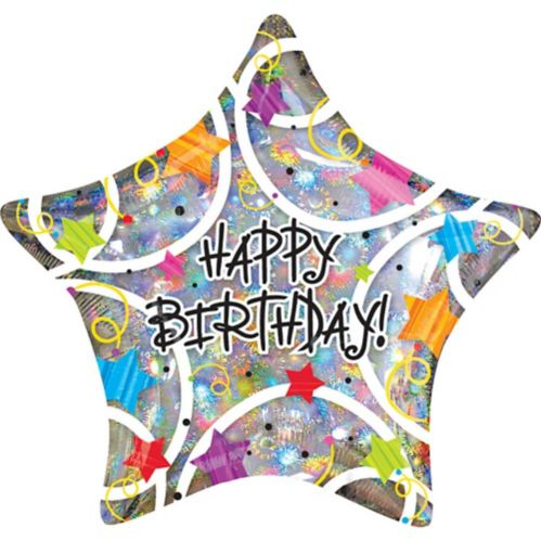 Holographic Star Happy Birthday Balloon