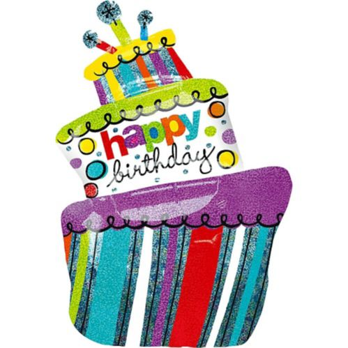 Happy Birthday Cake Balloon, 37-in Product image
