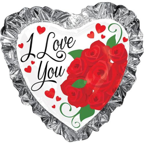 Ballon en cœur à volants en aluminium I Love You, 28po
