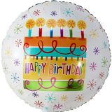 Ballon en forme de gâteau coloré Happy Birthday, 16,5 po