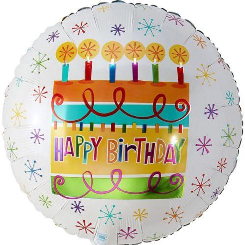 Ballon en forme de gâteau coloré Happy Birthday, 16,5 po Image de l'article