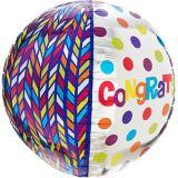 Orbz Dotty Geometric Congrats Balloon, 16-in