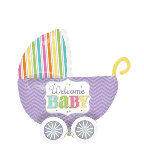 Ballon Bienvenue Bébé en landau, à chevrons couleur pastel arc-en-ciel