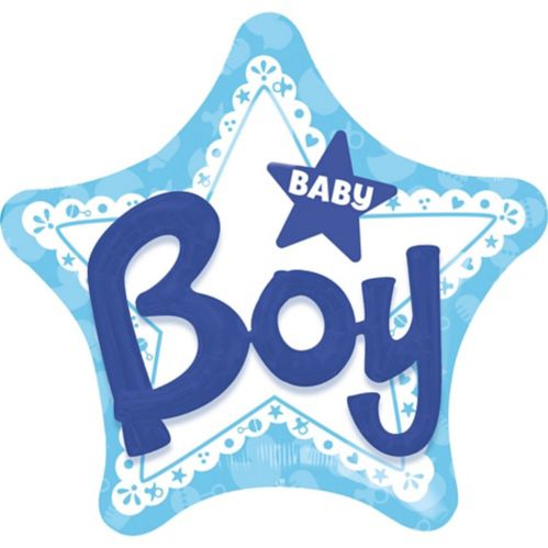 Baby Boy Blue Star 3D Balloon, 32-in Product image