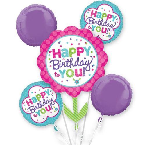 Pastel Birthday Balloon Bouquet, 5-pc