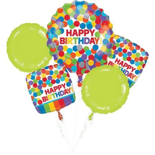 Rainbow Birthday Balloon Bouquet, 5-pc