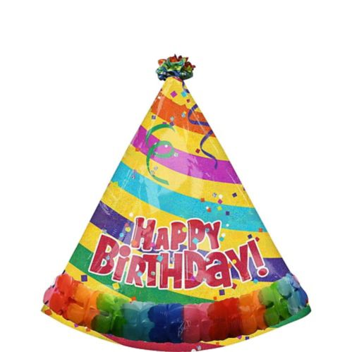 Ballon prismatique Happy Birthday Chapeau de Fête, 73 x 89 cm