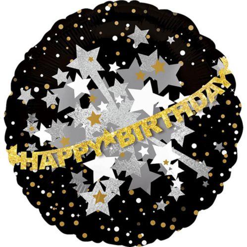 Prismatic Black, Gold & Silver Happy Birthday Balloon, 31-in