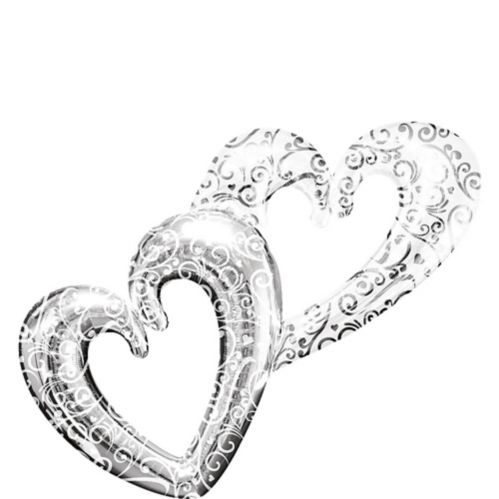 Giant Silver Swirl Double Heart Balloon, 53-in x 36-in