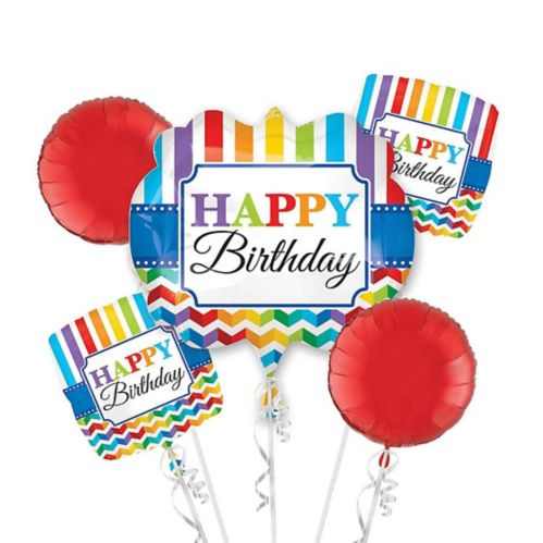 Rainbow Chevron Birthday Balloon Bouquet, 5-pc