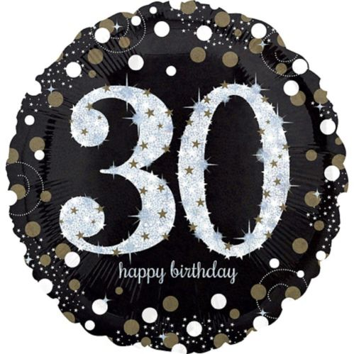 Sparkling Celebration 30th Birthday Balloon, 18-in