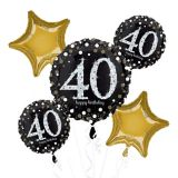 Sparkling Celebration 40th Birthday Balloon Bouquet, 5-pc
