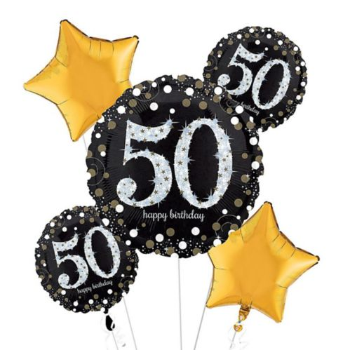 Sparkling Celebration 50th Birthday Balloon Bouquet, 5-pc