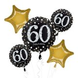 Sparkling Celebration 60th Birthday Balloon Bouquet, 5-pc