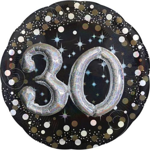 3D Sparkling Celebration 30th Birthday Balloon, 32-in