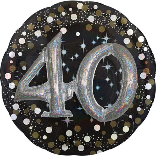 3D Sparkling Celebration 40th Birthday Balloon, 32-in Product image