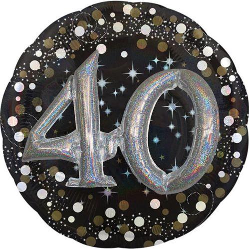 3D Sparkling Celebration 40th Birthday Balloon, 32-in