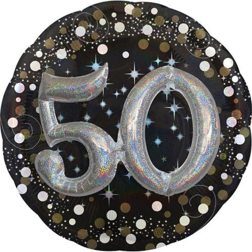 3D Sparkling Celebration 50th Birthday Balloon, 32-in