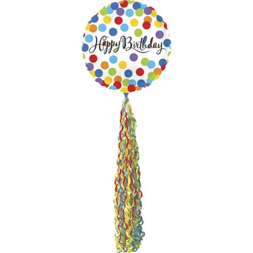 Giant Rainbow Dot Happy Birthday Balloon with Tail, 36-in