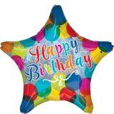 Rainbow Happy Birthday Star Balloon, 17-in