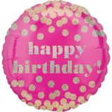 Metallic Dots Pink Happy Birthday Balloon, 18-in