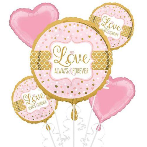 Sparkling Pink Wedding Balloon Bouquet, 5-pc