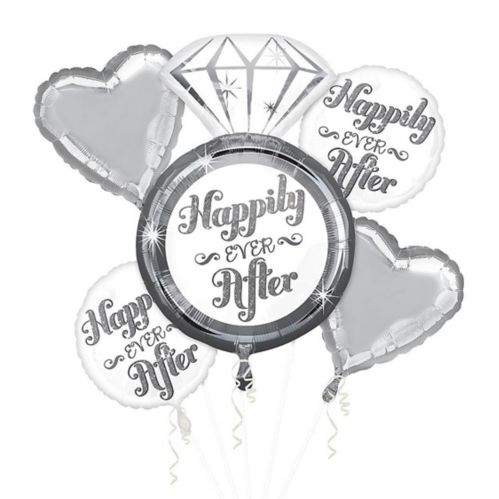 Bouquet de ballons « Happily Ever After » pour mariage, paq. 5