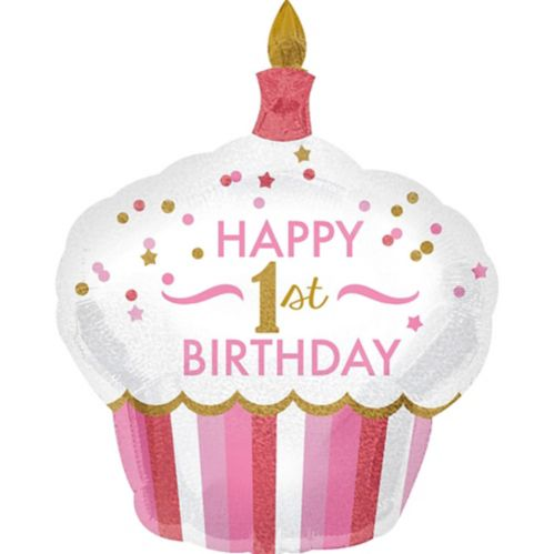 Pink Cupcake 1st Birthday Balloon, 29-in x 36-in Product image