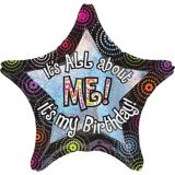 Giant Prismatic All About Me Birthday Star Balloon, 28-in