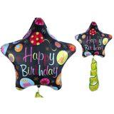 Ballon Géant Étoile Happy Birthday avec queue à franges, 78,7 cm