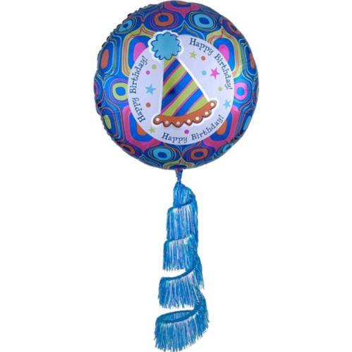 Ballon d'anniversaire rétro en forme d'étoile, queue à franges en spirale, 31 po Image de l'article