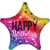 Rainbow Star Birthday Balloon, 19 1/2-in