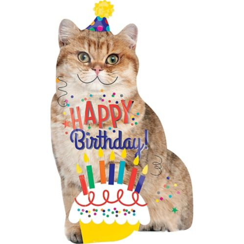 Giant Cat Birthday Balloon, 18-in x 33-in