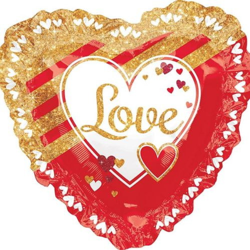 Giant Gold & Red Love Heart Balloon, 17-in