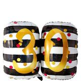 Giant Prismatic Pink & Gold 30th Birthday Balloon, 36-in