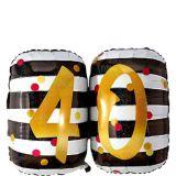 Ballon 40e anniversaire, rose et doré prismatique, 25 po | Amscannull