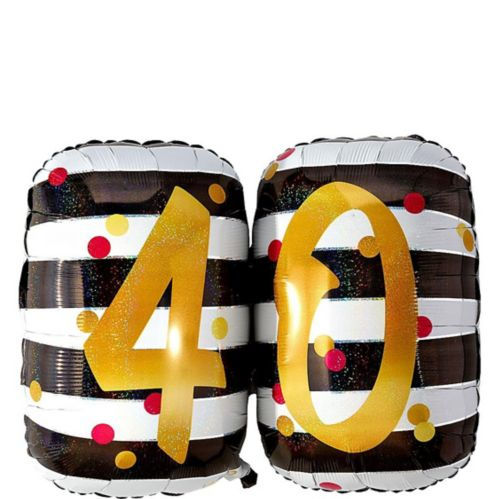 Giant Prismatic Pink & Gold 40th Birthday Balloon, 36-in
