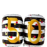 Prismatic Pink and Gold 50th Birthday Balloon, 25-in