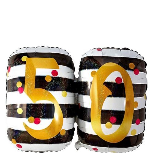 Giant Prismatic Pink & Gold 50th Birthday Balloon, 36-in