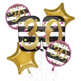 Pink & Gold 30th Birthday Balloon Bouquet, 5-pc