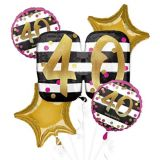 Pink & Gold 40th Birthday Balloon Bouquet, 5-pc