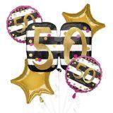 Bouquet de ballons pour 50ans, rose et doré, paq. 5