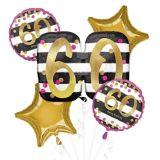 Pink & Gold 60th Birthday Balloon Bouquet, 5-pc