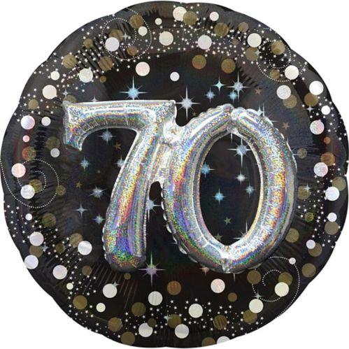 Ballon 3D scintillant pour fête de 70ans, 36po