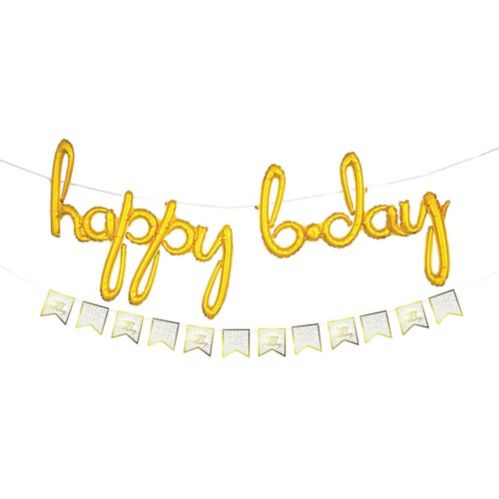 Ballons Lettres Cursives Happy Birthday Gonflés d'air, bannière à fanions, doré Image de l'article